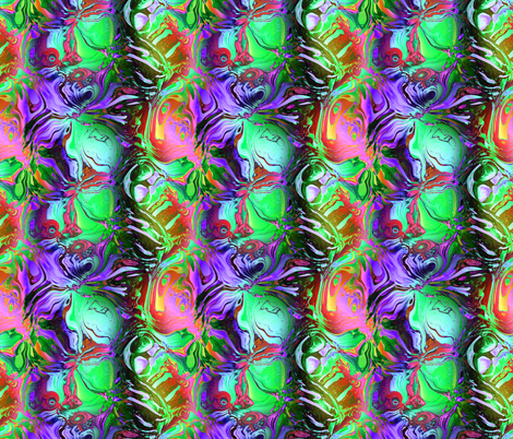 INCREDIBLE FRUITY FLOWERS FLOWERY FRUITS ABSTRACT STRIPES  GLOW PURPLE GREEN RED PINK FLUO fabric by paysmage on Spoonflower - custom fabric