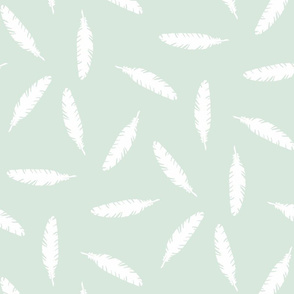 Pillow Fight White on Mint
