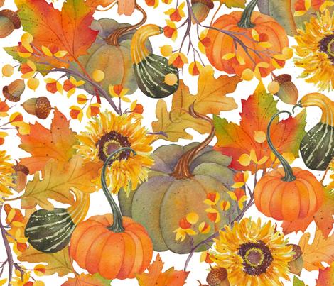 rustic fall w/white fabric by divadeba on Spoonflower - custom fabric