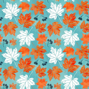 Autumn leaves in blue and orange