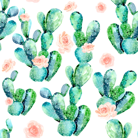 """8"""" CACTUS ROSE / WHITE fabric by shopcabin on Spoonflower - custom fabric"""