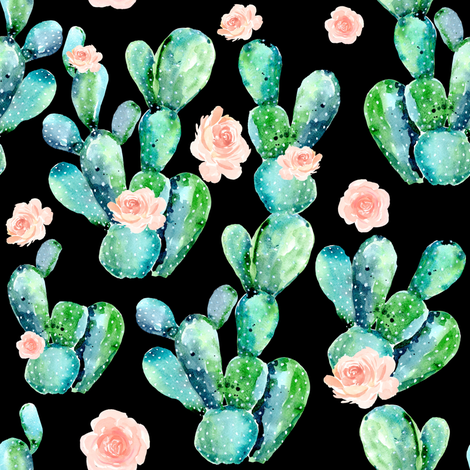 "8"" CACTUS ROSE / BLACK fabric by shopcabin on Spoonflower - custom fabric"