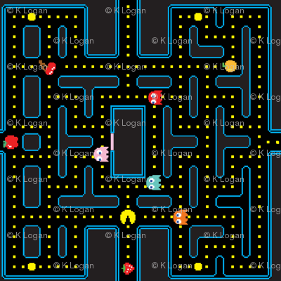 Pacman Retro Video Game Pattern