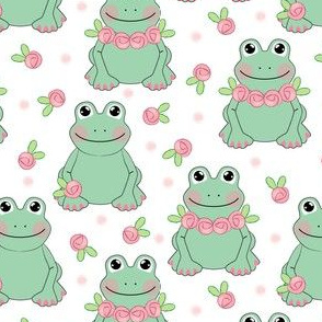frogs and roses on white
