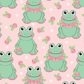 frogs and roses on pink