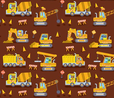 Construction Trucks (brown) fabric by edward_elementary on Spoonflower - custom fabric