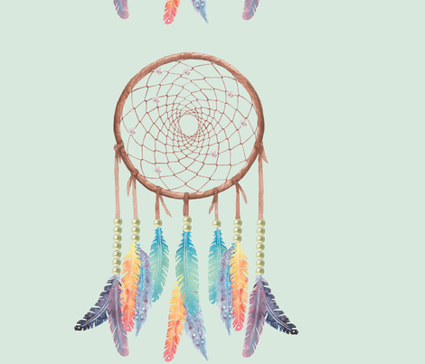 Gypsy Dreamcatcher on Mint fabric by shannalene on Spoonflower - custom fabric