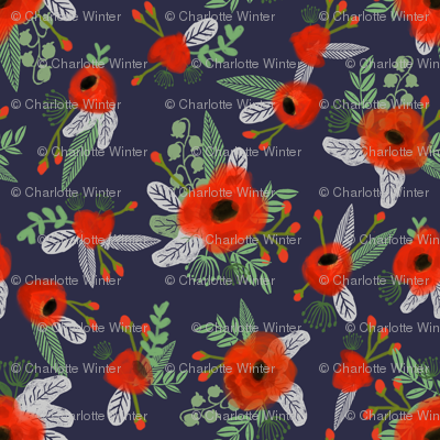poppies floral fabric - dark navy