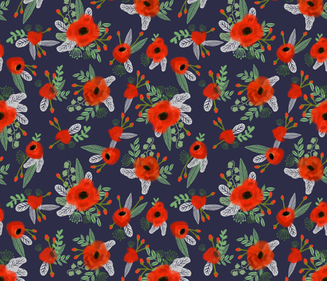 poppies floral fabric - dark navy fabric by charlottewinter on Spoonflower - custom fabric