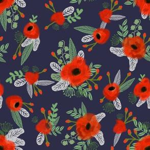 poppies floral fabric - dark navy