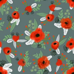 poppy floral fabric - dark green