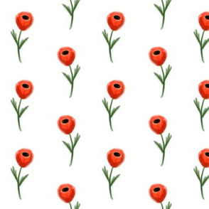 poppy fabric - white