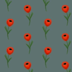 poppy fabric - dark green