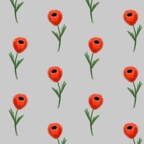 poppy fabric - grey