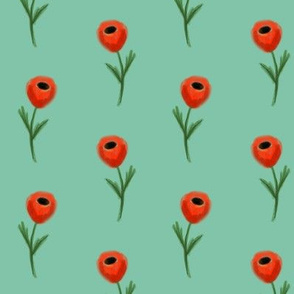 poppy fabric - green
