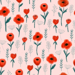 poppies floral fabric - pink