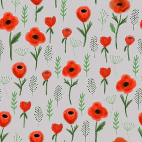 poppies floral fabric - grey
