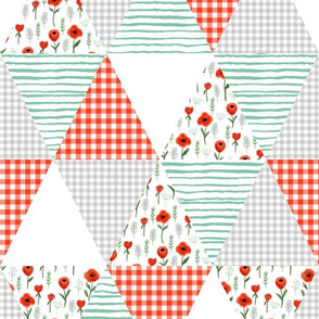 poppies triangle quilt patchwork quilt top design