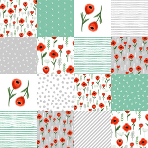 poppies quilt floral patchwork cheater quilt