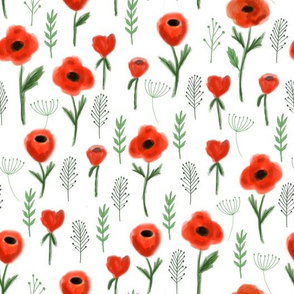 poppies floral fabric - white