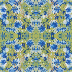 Abstract pattern- green, blue, white and gold