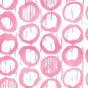 Raspberry Pink Abstract Geometric Sketches of circles on white