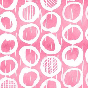 Abstract Geometric Sketches of circles on raspberry pink