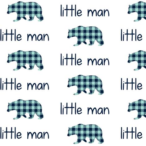 Little Man Bear - Navy + Mint Plaid fabric by gingerlous on Spoonflower - custom fabric