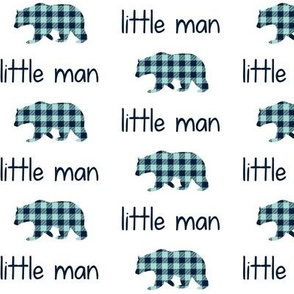 Little Man Bear - Navy + Mint Plaid