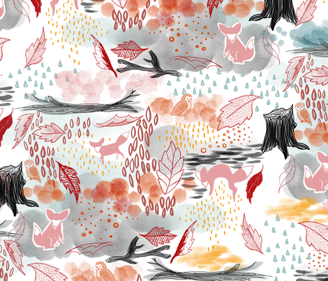 Foxy Fall In Watercolor fabric by mrshervi on Spoonflower - custom fabric