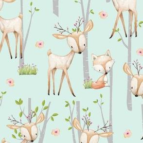 Sweet Woodland Animals (soft mint) Deer Fox Raccoon Birch Trees Flowers Baby Girl Nursery Blanket Sheets Bedding A