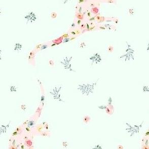 """5.25"""" Floral Dino / Roses / LIGHTER Mint"""