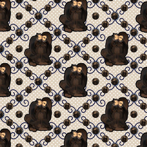 Chocolate Shih tzu - Twirling Dots