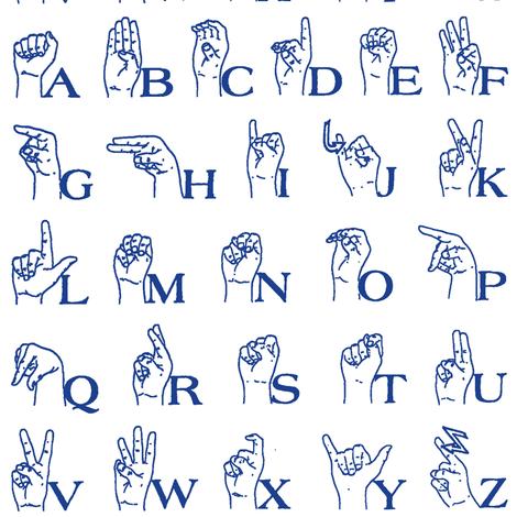 Sign Language Alphabet Blue fabric thin line textiles