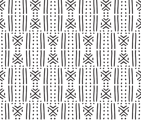 line_mudcloth_white fabric by holli_zollinger on Spoonflower - custom fabric
