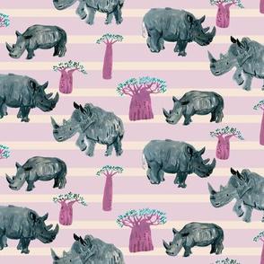 African safari rhino pink