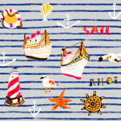 Watercolor nautical in stripe