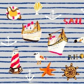 Watercolor nautical in stripe