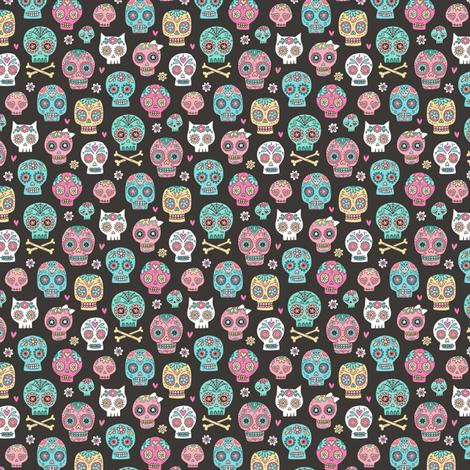 Sugar Skulls on Black Tiny Small fabric by caja_design on Spoonflower - custom fabric