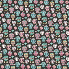 Sugar Skulls on Black Tiny Small