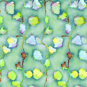 FLOWERS BRANCH LAND PASTEL blue yellow green