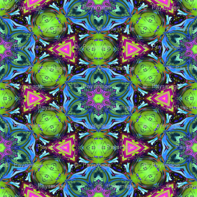 MANDALA FLOWER HEXAGON GEOMETRY BLUE GREEN