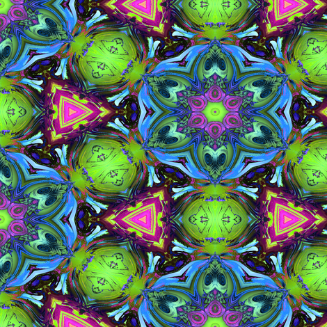 MANDALA FLOWER HEXAGON GEOMETRY BLUE GREEN fabric by paysmage on Spoonflower - custom fabric