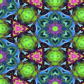 MANDALA FLOWER HEXAGON GEOMETRY BLUE GREEN