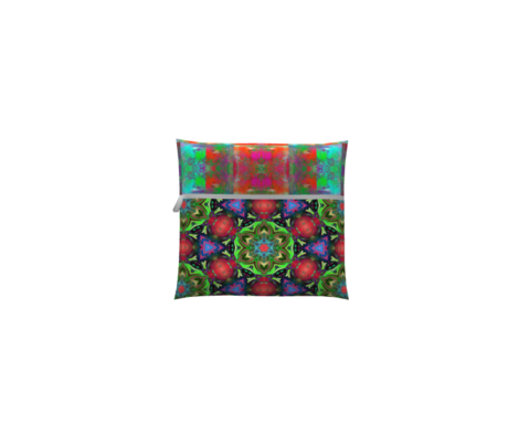 MANDALA FLOWER HEXAGON GEOMETRY GREEN RED