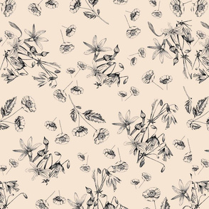 Hand Drawn Flowers with beige background