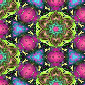 MANDALA FLOWER HEXAGON GEOMETRY PINK GREEN