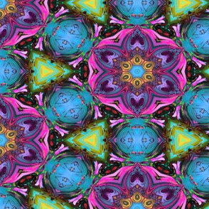 MANDALA FLOWER HEXAGON GEOMETRY PINK TURQUOISE