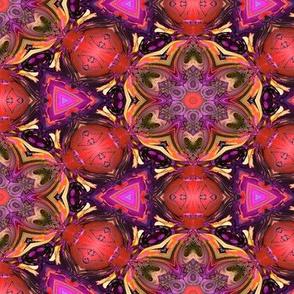 MANDALA FLOWER HEXAGON GEOMETRY RED FUCHSIA