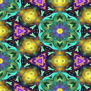 MANDALA FLOWER HEXAGON GEOMETRY GOLD AQUA